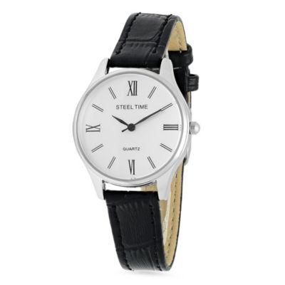 Steeltime Womens Black Bracelet Watch-998-024-W