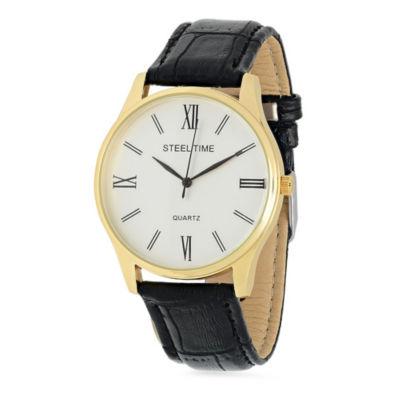 Steeltime Mens Black Bracelet Watch-998-022-W