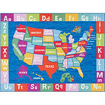 Eric Carle Elementary USA Map Graphic/Print Rectangular Rug