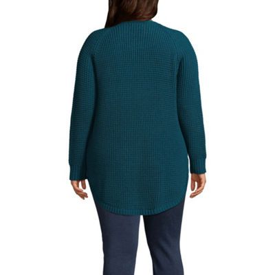 Arizona Long Sleeve Scoop Neck Pullover Sweater-Juniors Plus