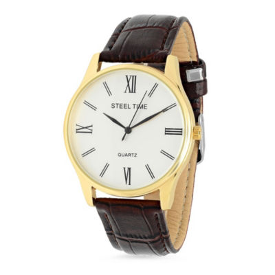 Steeltime Mens Brown Bracelet Watch-998-023-W