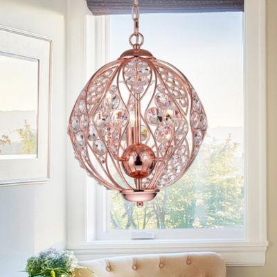 Sunine 3-Light 13-Inch Rose Gold Globe Pendant