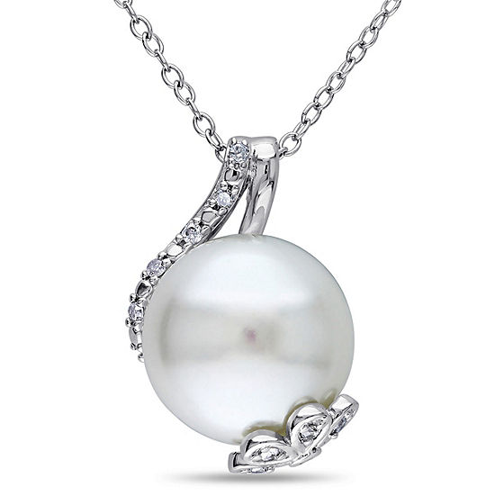 Womens 1/10 CT. T.W. White Cultured Freshwater Pearl Sterling Silver Pendant Necklace