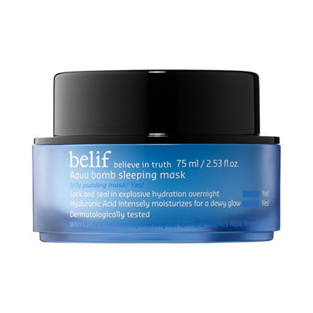Which skin type is it good for? Normal Oily Combination Dry SensitiveWhat it is:This innovative jelly-pudding sleeping mask replenishes and revives dull, dry skin with explosive hydration for a dewy, radiant glow.Solutions for:- Dryness- Dullness and uneven texture- RednessIf you want to know more The \\\'memory\\\' formula of this unique jelly-pudding sleeping mask blankets and wraps around the contours of skin with a refreshing layer of intense hydration. Born from the DNA of belif\\\'s bestselling Aqua Bomb moisturizer, this overnight mask rejuvenates and replenishes dull, dry, and fatigued skin with explosive hydration for smoother, more supple-looking skin and a healthy glow. Filled with ultra-hydrating herbs like skin-soothing Scottish heather and lady\\\'s mantle, the pillow-proof formula is lightweight and absorbs quickly for fuss-free hydration. What it is formulated WITHOUT:- Parabens- SulfatesWhat else you need to know: This product is dermatologist tested and free of mineral oils, petrolatum, synthetic preservatives, dyes, fragrances, and animal origin ingredients.Research results:In a 14-day consumer test: - 96.7% of people felt that the texture of their skin felt softer and smoother on the following day after applying the Aqua Bomb Sleeping Mask-97.8% of people felt immediate cooling effects after applying it- 95.6% of people felt that the moisture barrier shields moisture loss- 96.7% of people felt that the moisture (in skin) has been replenished overnightSuggested Usage:--After or instead of moisturizer, apply a thin layer evenly across your face.-Leave on overnight and rinse off in the morning for ultra-hydrated, nourished skin. Tips:-Gently massage into skin for extra deep hydration. Use when you want your skin to be smoother and more makeup-ready in the mornings.-Use after being exposed to extreme wind, heat, or cold to nourish and hydrate skin.-Store in refrigerator for extra cooling benefits. Precautions:-For external use only. -Avoid contact wi