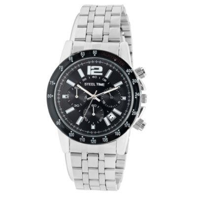 Steeltime Mens Silver Tone Bracelet Watch-998-029-W