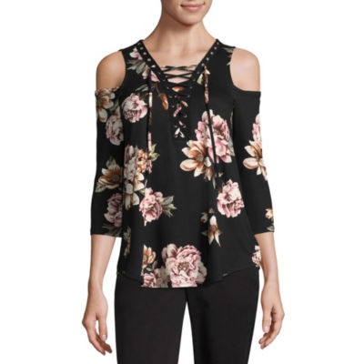 by&by 3/4 Sleeve V Neck Knit Blouse-Juniors