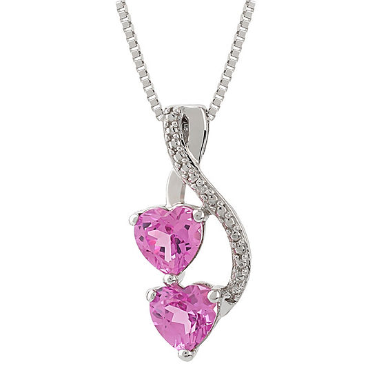 Womens Diamond Accent Lab Created Pink Sapphire Sterling Silver Heart Pendant Necklace