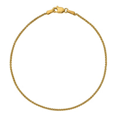 14K Gold 10 Inch Solid Wheat Chain Bracelet