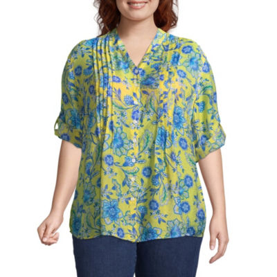 Lark Lane Must Have Floral Vines Blouse - Plus
