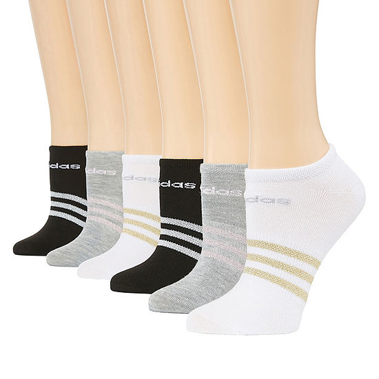 Adidas 6 Pack Superlite Lurex Stripe No-Show Socks- Womens