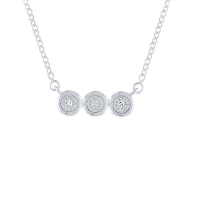 Diamond Accent Genuine White Diamond Sterling Silver Round Pendant Necklace