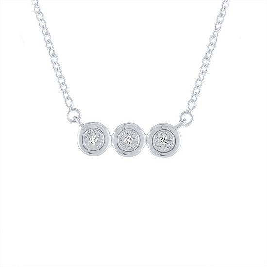 """Three Wishes"" Womens Diamond Accent Genuine White Diamond Sterling Silver Round Pendant Necklace"