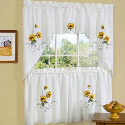 Sunflower Embroidered Kitchen Curtain Set