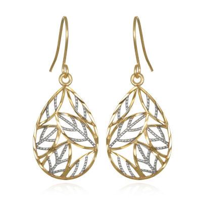 10K Two Tone Gold Pear Drop Earrings