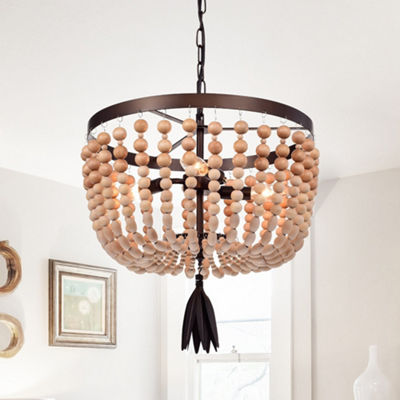 Jossip 3-Light 17-Inch Wood Metal Pendant