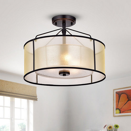 Darlix 3-light Oil-rubbed Bronze Metal/Glass/Fabric Semi-flush Drum Light