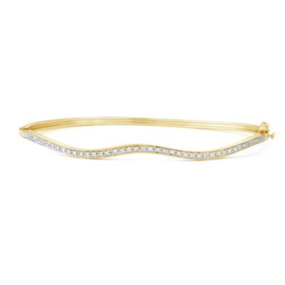Womens 1/10 CT. T.W. White Diamond Sterling Silver Gold Over Silver Bangle Bracelet