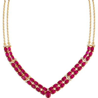 Womens Diamond Accent Lab Created Red Ruby 10K Gold Over Silver Y Necklace