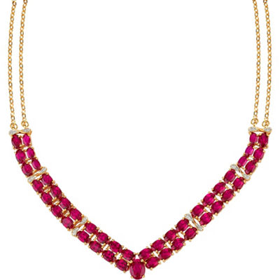 Womens Diamond Accent Lab Created Red Ruby Y Necklace