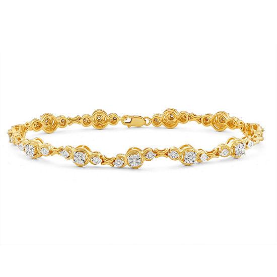 1/2 CT. T.W. White Diamond 14K Gold Over Silver 7 Inch Tennis Bracelet