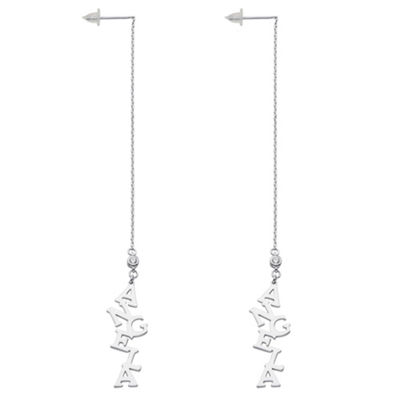 Personalized Simulated White Cubic Zirconia Sterling Silver Drop Earrings
