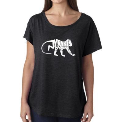 Los Angeles Pop Art Women's Loose Fit Dolman Cut Word Art Shirt - Monkey Business