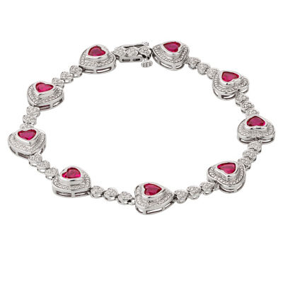 Womens 7 1/4 Inch Diamond Accent Red Ruby Sterling Silver Link Bracelet