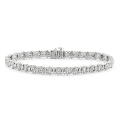 1/2 CT. T.W. White Diamond 14K White Gold Over Silver 7 Inch Tennis Bracelet