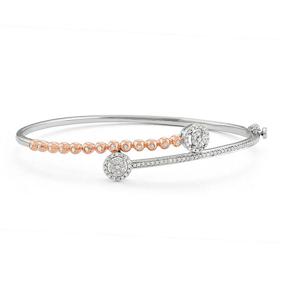 1/2 CT. T.W. White Diamond 14K Gold Over Silver Bangle Bracelet