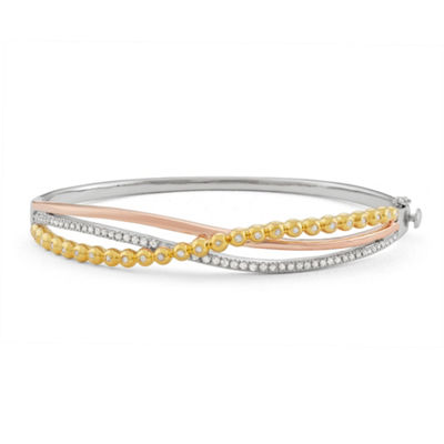 1/2 CT. T.W. White Diamond 14K Tri-Color Gold Over Silver Bangle Bracelet