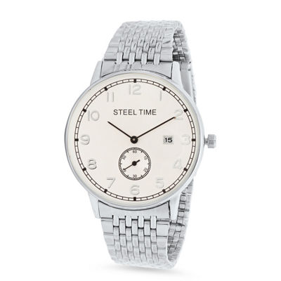 Steeltime Mens Silver Tone Bracelet Watch-998-035-W