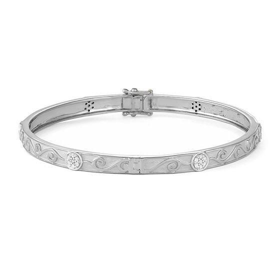 1/3 CT. T.W. White Diamond 14K White Gold Over Silver Bangle Bracelet