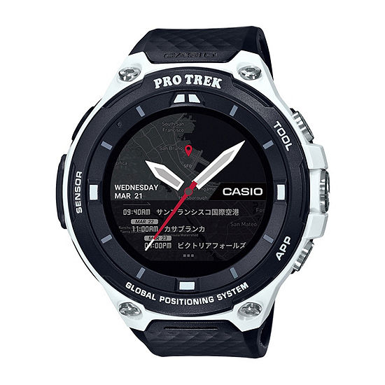 Casio Pro Trek Unisex Adult Black Smart Watch-Wsd-F20wecau