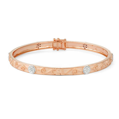 1/3 CT. T.W. White Diamond 14K Rose Gold Over Silver Bangle Bracelet