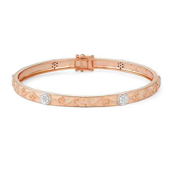 1/3 CT. T.W. White Diamond 14K Rose Gold Over Silver Bangle Bracelet