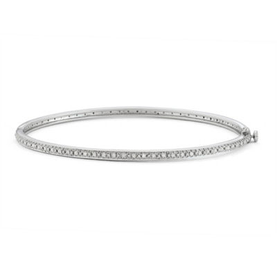 1/2 CT. T.W. White Diamond 14K White Gold Over Silver Bangle Bracelet