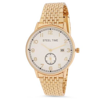 Steeltime Mens Gold Tone Bracelet Watch-998-036-W