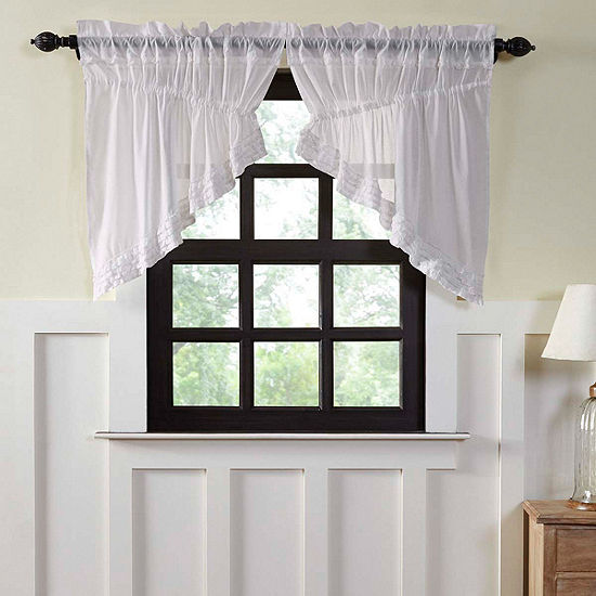 Farmhouse Window White Ruffled Sheer Prairie Swag Pair