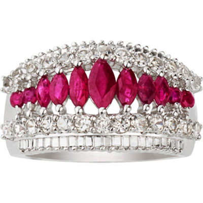 Womens Red Ruby Sterling Silver Band