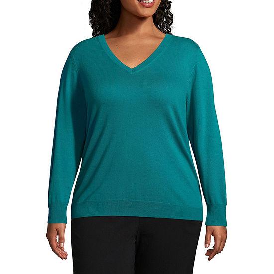Worthington V Neck Sweater - Plus