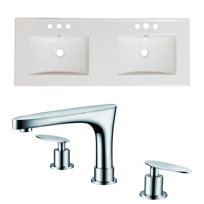 59-in. W 3H8-in. Ceramic Top Set In White Color -CUPC Faucet Incl.