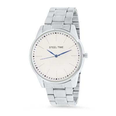 Steeltime Mens Silver Tone Bracelet Watch-998-037-W