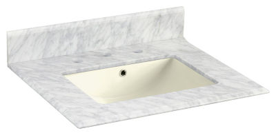 23.5-in. W 19.5-in. D Marble Top With Backsplash In Bianca Carara Color For 3H8-in. Faucet - BiscuitUM Sink
