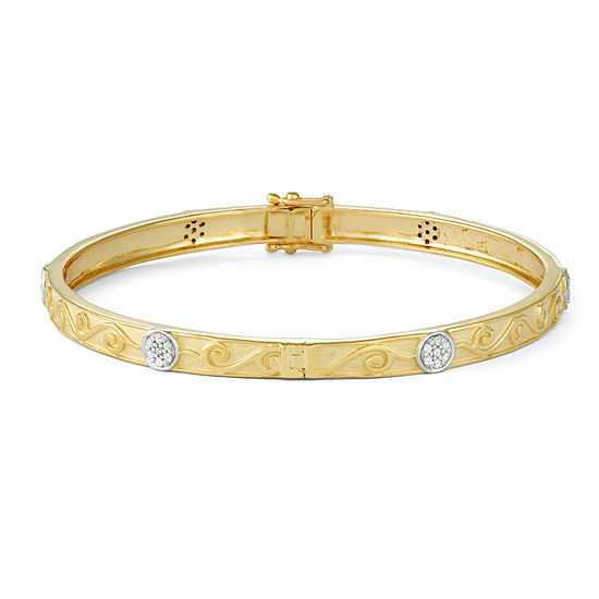 1/3 CT. T.W. White Diamond 14K Gold Over Silver Bangle Bracelet