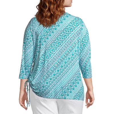 Lark Lane Must Have 3/4 Sleeve Tee with Side Ruching - Plus
