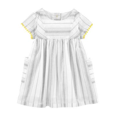 Oshkosh Olive Surplus Jacket Short Sleeve Babydoll Dress - Baby Girls