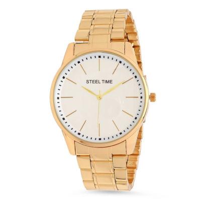 Steeltime Mens Gold Tone Bracelet Watch-998-038-W
