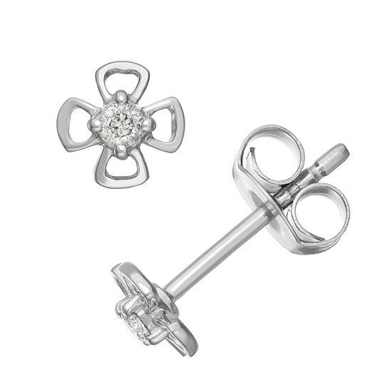 1/10 CT. T.W. White Diamond Sterling Silver 18.1mm Stud Earrings