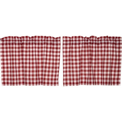 Farmhouse Window Buffalo Red Check Tier Pair