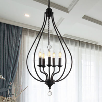 Amriana 5-Light 18-Inch Antique Bronze Cage Pendant